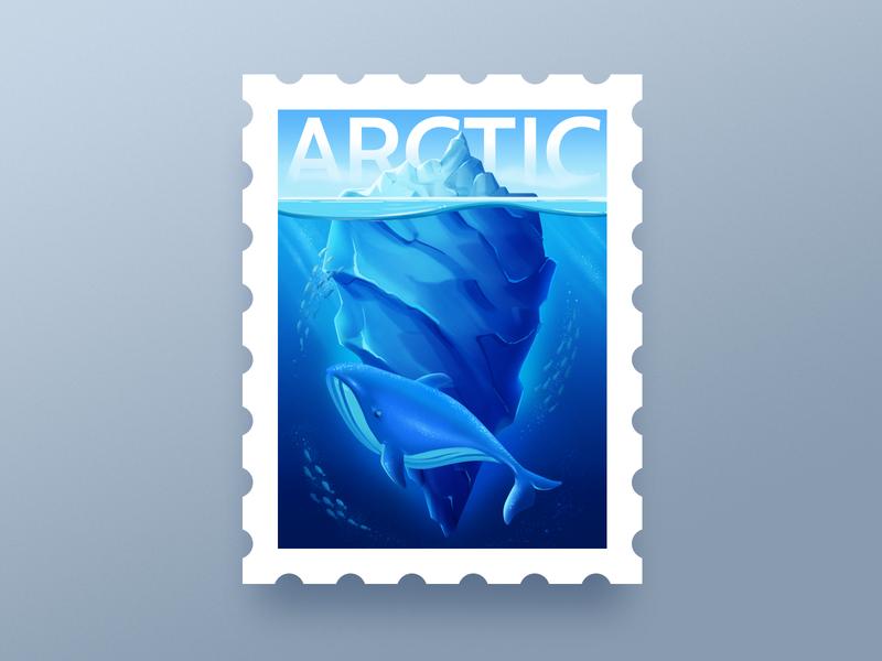 Arctic Stamp stamp earth animal arctic ocean arctic warm-up weekly design art dribbbleweeklywarmup illustration blue whale
