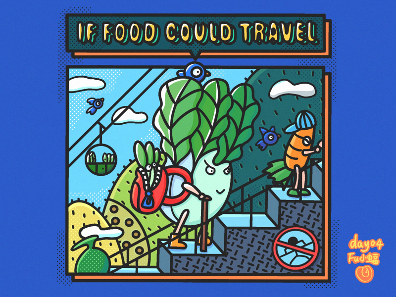 If food could travel travel food drawing draw doodle illustration fulittlebat fu小蝠