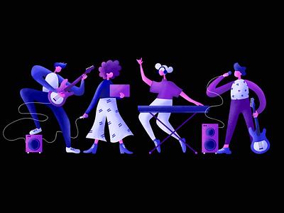 Band members music people illustrator dribbble illustration design