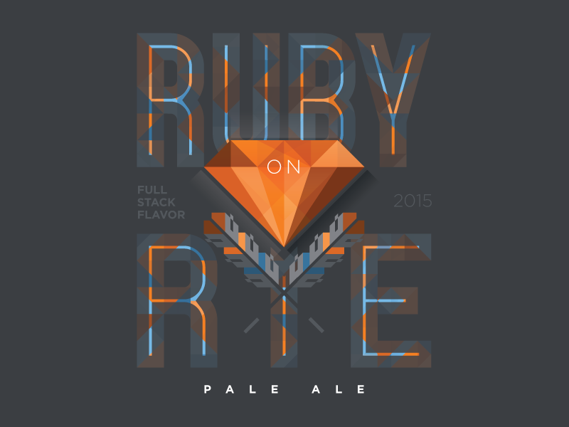 Ruby on Rye Pale Ale stack exchange fractile vector logo code programming full stack rye ruby label beer