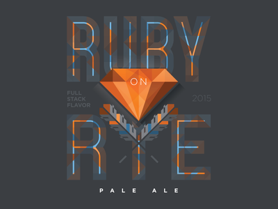 Ruby on Rye Pale Ale stack exchange fractile vector logo code programming full stack rye ruby label beer