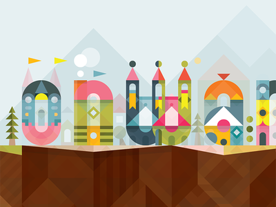 Onward geometric vector illustration