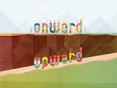 Onward, Upward color houses upward onward illustration poster
