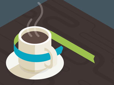 Good Morning illusrtation isometric coffee ribbon