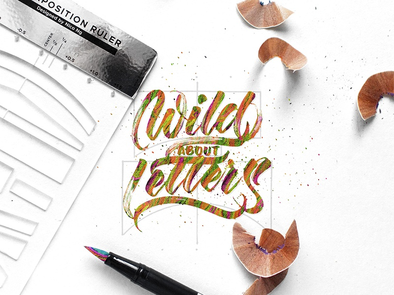 Wild About Letters (Color Pencil Lettering) lettering composition hand-lettering color pencil calligraphy brush calligraphy typography type lettering calligraphy
