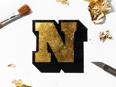 """""""N"""" Gold Leaf Lettering"""