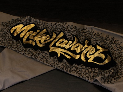 Gold Leaf Lettering on Fabric