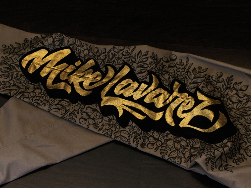 Gold Leaf Lettering on Fabric brush pen illustration gold typography gold calligraphy gold lettering gold leaf design 3d lettering brush script brush calligraphy lettering composition calligraphy typography type lettering hand-lettering