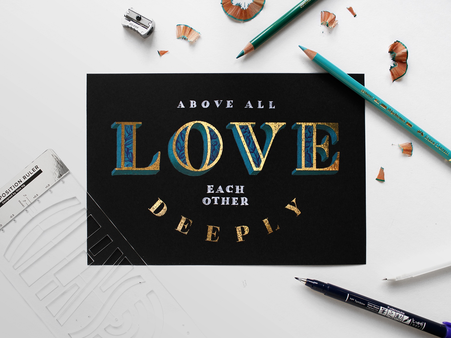 Above All Love Each Other Deeply (3D Gold Lettering) bible lettering gold brush calligraphy brush pen floral decoration detailed lettering illustration gold leaf color pencil calligraphy bible verse gold lettering color pencil 3d lettering digital calligraphy design lettering composition typography type lettering hand-lettering