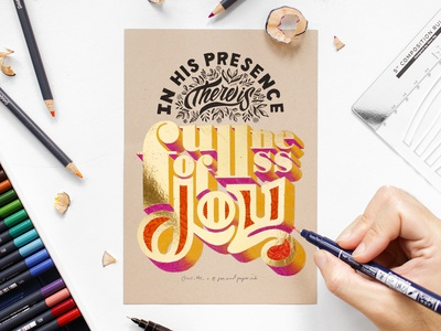 Fullness of Joy (3D Gold Lettering) bible lettering 3d gold color pencil calligraphy bible verse gold lettering gold leaf color pencil brush pen brush script 3d lettering digital calligraphy design brush calligraphy calligraphy lettering composition typography type lettering hand-lettering