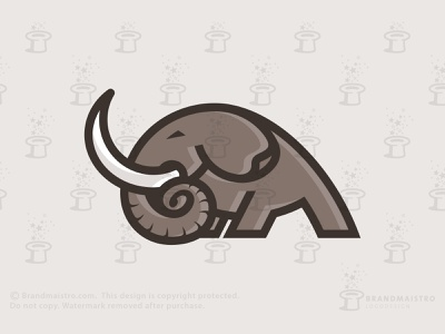 Strong Elephant Logo (for sale) social behavior ivory mascot mastodon power wilderness nature endangered powerful heavy energy strength animal mammoth elephant logo logo for sale