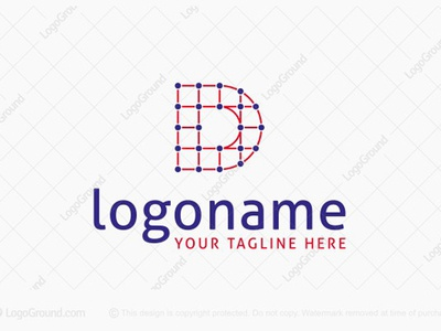 Dot Connected Letter D Logo