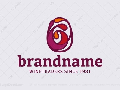 Wine Glass with Swirl Logo