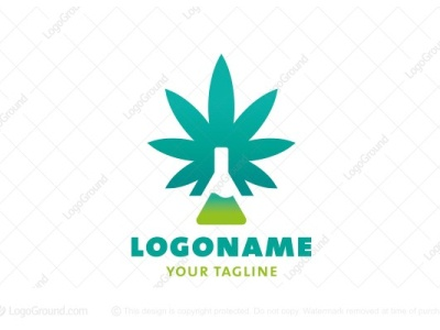 Cannabis CBD Lab Logo (for sale) plant natural extract drugs herbal leaf oil cannabidiol pharmacy medicine medical weed hemp nature laboratory bottle marijuana cannabis logo for sale