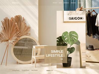 Interior layout web minimal clean uxdesign uidesign debut khoianh prototype animation interior interface ui logo design illustration