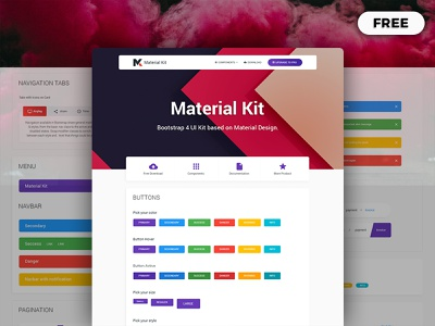 Free Bootstrap 4 Material Design UI Kit figma xd dashboad sketch admin dashboard admin free material design ui kit psd bootstrap modern components elements ux