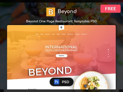 Beyond Multi Purpose Free Restaurant PSD Templates templates xd figma sketch photoshop psd freebies free