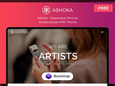 Ashoka – Free Responsive Minimal Multipurpose HTML Theme responsive scss javascript wordpress css html frontend uiux template freebie free bootstrap 4 bootstrap admin