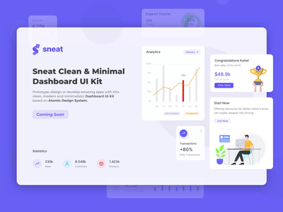 Sneat Clean & Minimal Dashboard UI Kit 👈🏻 minimal sketch uikit xd sneat admin theme tranding ui illustration figma uikit dashboad dashboard ui sketch admin dashboard bootstrap admin