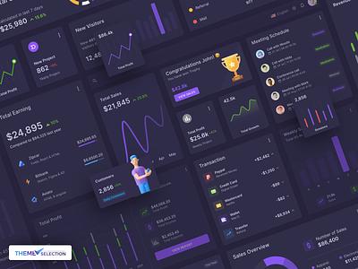 Materio – Vuetify Vuejs Admin Dashboard UI Kit Widget Dark