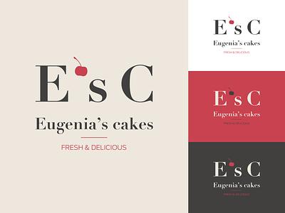 Cake Shop Logo sweets brand handmade cakeshop cakes cherry minimalist cake vector identity logodesign logotype branding design logo graphic design
