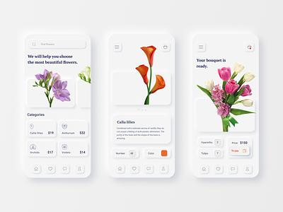 Florist App neumorphism web mobile apps minimal ux ui typography design