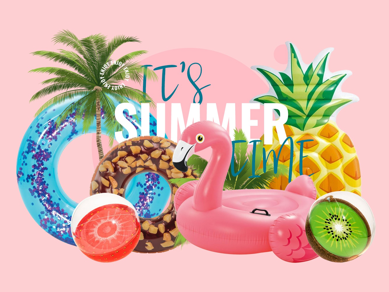Summer Time swimming inflatable cover banner enjoy summertime flamingo sea pink palm summer slider web slider slider summer character art photoshop branding typography design