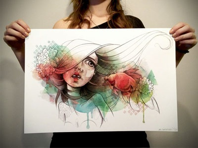 Sushi art illustration woman fish sushi ink colors patern drawing