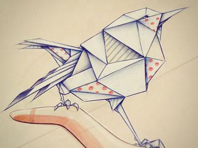 Origami  art illustration bird color pencil paper origami