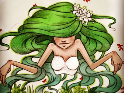 Mother nature woman hair blue green plant mother nature drawing color fish aqua
