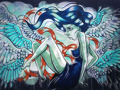 Under Pressure Montreal 2014 woman hair blue orange wings mural