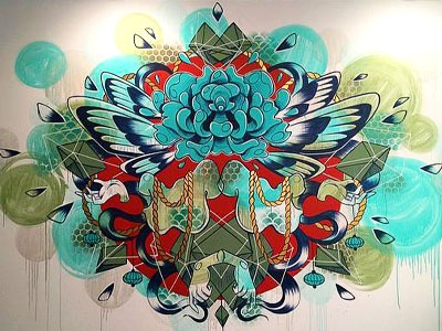 A little mural mural flower wings butterfly hair blue green red rock pattern