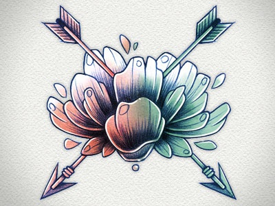 Bleu and pink flower digital water color pencil hand drawing illustration arrow pink blue flower