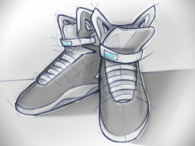 Back to the futur and drawing sketch blue grey running shoes nike illustration