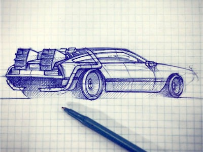 Back to the futur hand drawing pen bic blue rough draft sketch back to the futur car illustration
