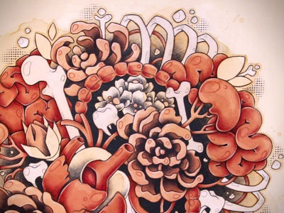 Knots white coffee red knots organs teeth bones flowers acrylic ink pencil artwork