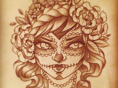 Halloween illustration makeup hair flower woman dia de los muertos halloween