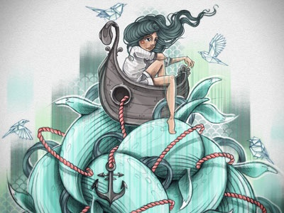 Big fish boat hair bird blue woman fish print illustration art