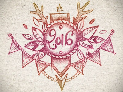 Happy new year! hand drawing new year 2016 drawing illustration