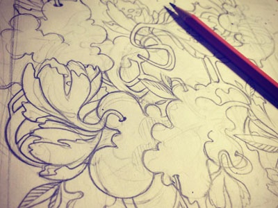 Big mess in progress! organic flowers paper pen hand drawing wip sketch
