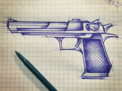 Gun sketch blue bic illustration drawing gun