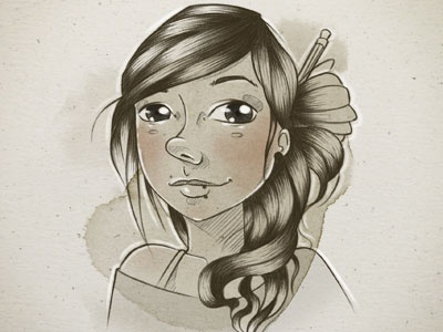 New self-portrait! woman character sketch illustration self-portrait