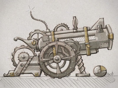 Weapon cannon weapon war artillery sketch rebound illustration