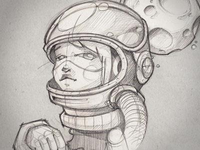 Full moon art illustration moon armstrong sketch woman figure