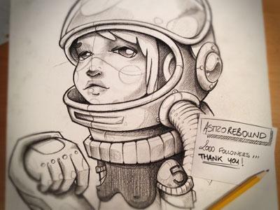 AstroREBOUND! astronaut rebound illustration