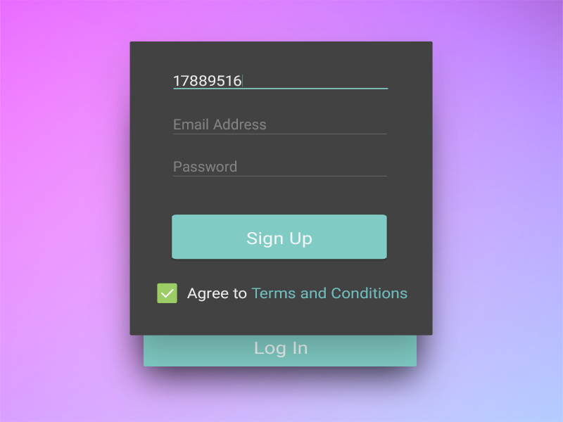 Sign Up Screen - Daily UI 001 ui log in sign up dailyui 001 daily ui