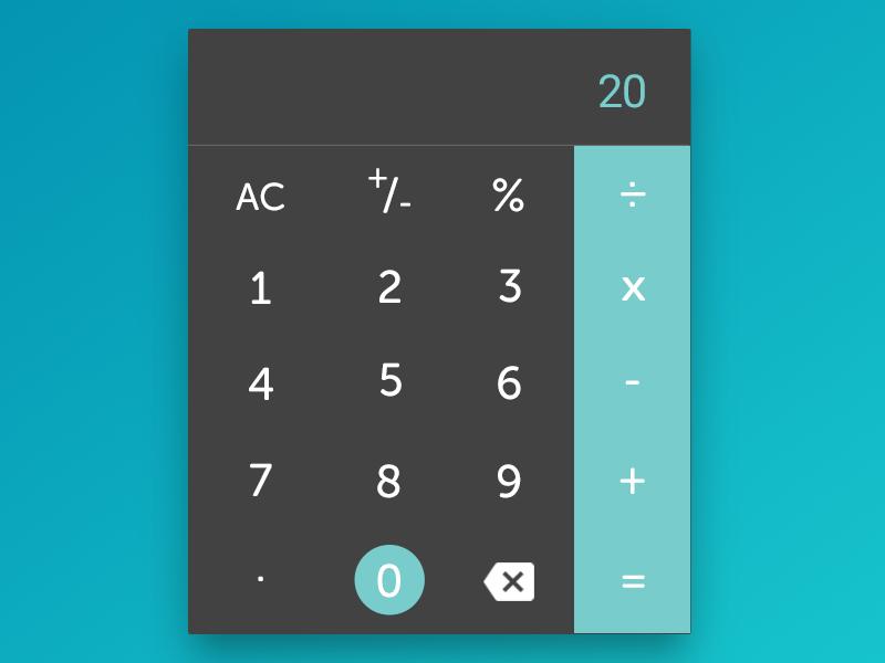 A Custom Calculator - DailyUI 004 calculator material minimalist app design web design ux ui dailyui 004 daily ui