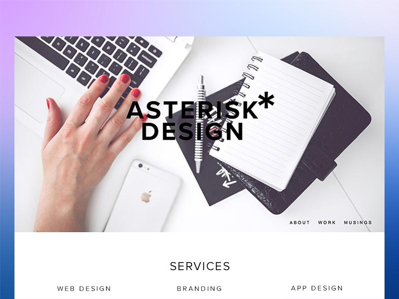 Asterisk Design Landing  hero image branding logo design studio landing page web design
