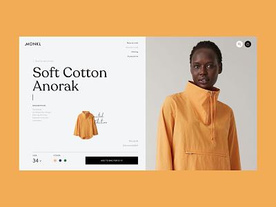 Soft Cotton Anorak Cart bag woman anorak wearing orange yellow color buying basket cart clothing store e-commerce buy shop online web ux ui choice