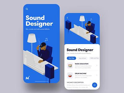 Sound Designer Vacancy bit drum effects music app hip hop music sound designer job vacancy vector movement mobile app mobile flat illustration illustrator after effects motion choice